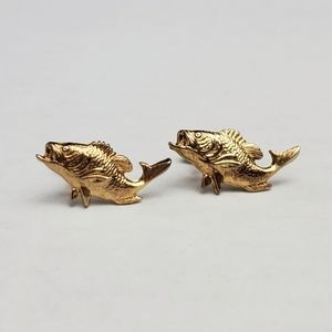 """Vintage Big Mouth Bass Fishing Screwback Earrings Mid Century Gold Plated 1"""""""